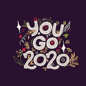 Groet nieuwe 2020-jaarkaart