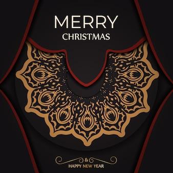 Groet poster happy new year en merry christmas wit met winter patroon.