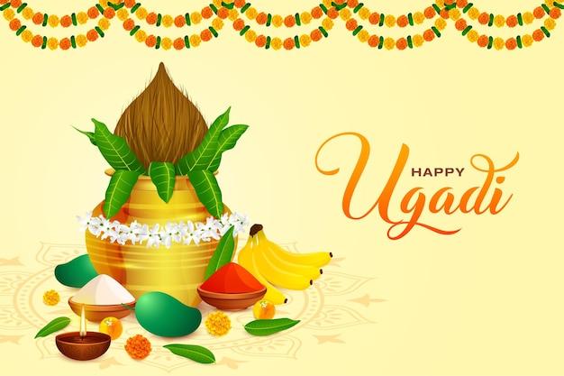 Groet traditionele gelukkige ugadi gudhi voor indiase nieuwjaarsfestival gudi padwa