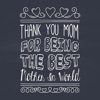 Groet van de dag van moeders in lettertype met krijt