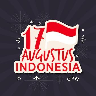 Groet van indonesië independence day vlakke stijl