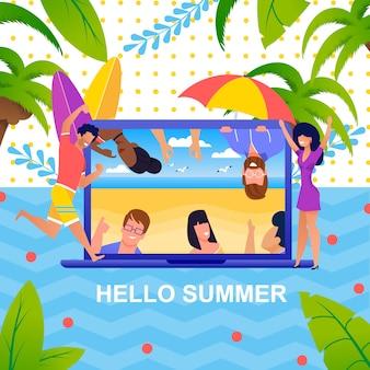 Groet zomer metafoor en gelukkige toeristen