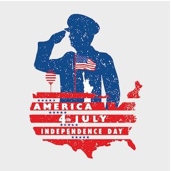 Groeten aan de vrijheid van amerika op 4 juli met grunge banner
