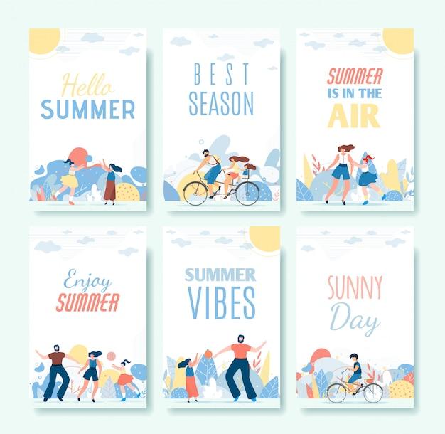 Groeten cartoon zomer kaarten en vibes set