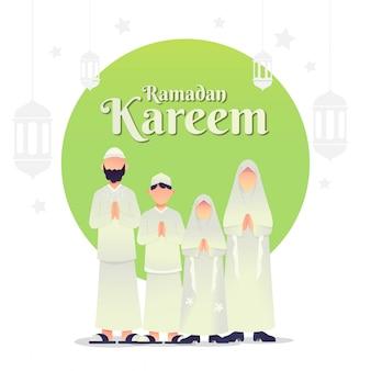 Groeten van de moslimfamilie voor ramadan kareem