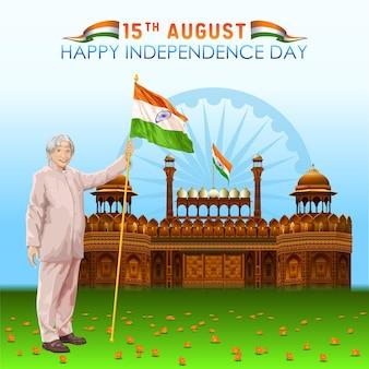 Groeten van de onafhankelijkheidsdag van india met een meester voor het rode fort