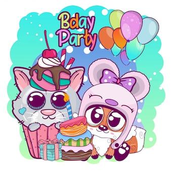 Groeten verjaardagskaart met schattige kitten en fox