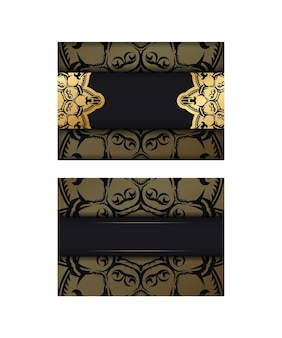 Groetenbrochure in zwart met griekse gouden ornamenten voor uw ontwerp.