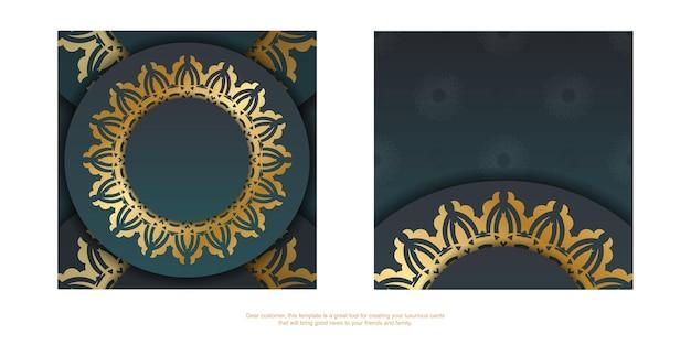 Groetenbrochure met groene kleurverloop met mandala gouden patroon voor uw felicitaties.