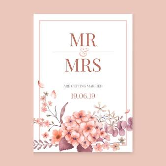 Groetenkaart met roze en bloementhema