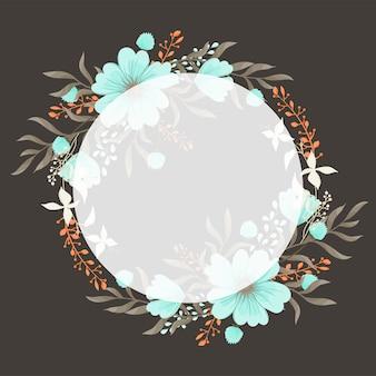 Groetkaart met bloemen, waterverf. vector frame