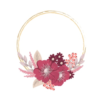 Groetkaart met bloemen, waterverf. vector kranskader