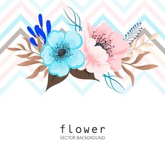 Groetkaart met bloemen, waterverf.