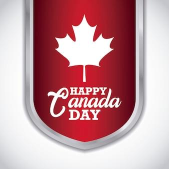 Groetkaart van de gelukkige dag van canada met esdoornblad