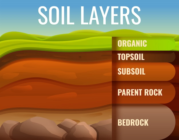 Grond grond infographic, cartoon stijl