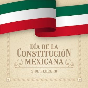 Grondwet dag achtergrond met mexicaanse vlag