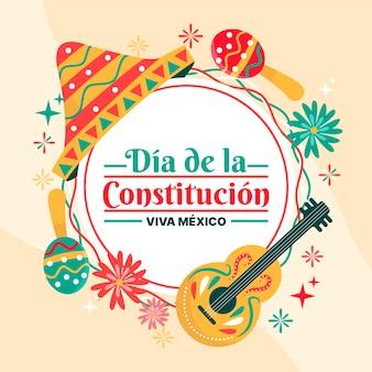 Grondwet dag mexico hand getrokken hoed