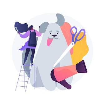 Grooming salon abstract concept illustratie. verzorgingsafspraak in salon, mobiele dierendienst, schoonheidssalon, dagkuur voor honden, knipbeurt, pootbehandelingssalon, dierenverzorging