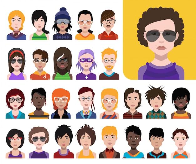 Groot aantal mensen avatars in vlakke stijl vector vrouwen, mannen met kleur achtergrond