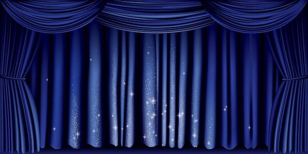 Groot blauw gordijn
