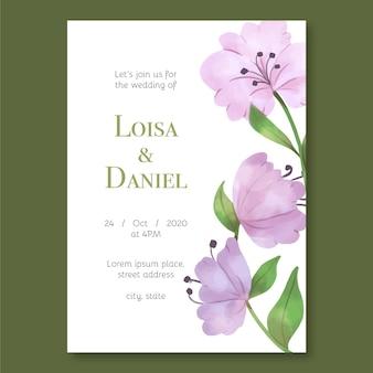 Groot bloemenconcept voor huwelijksuitnodiging