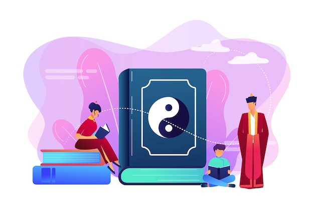 Groot boek met lezen van yin-yang en taoïsme familie, kleine mensen. yin yang taoïsme, taoïsme en confucianisme, taoïsme chinese filosofie concept.
