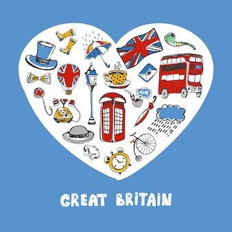 Groot-brittannië gekleurde doodles collectie