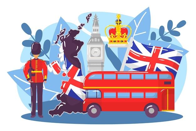 Groot-brittannië land onderzoek concept wereld europese londen stereotype big ben monarchie platte vector...