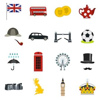 Groot-brittannië pictogrammen in vlakke stijl instellen