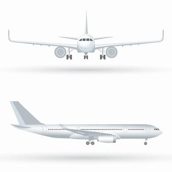 Groot commercieel straalvliegtuig. vliegtuig in profiel, van voren gezien