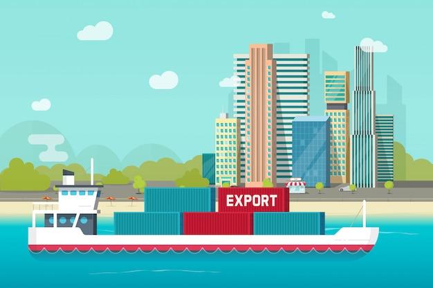 Groot containerschip die in oceaan of vervoersschip varen in zeehaven met veel ladingscontainers