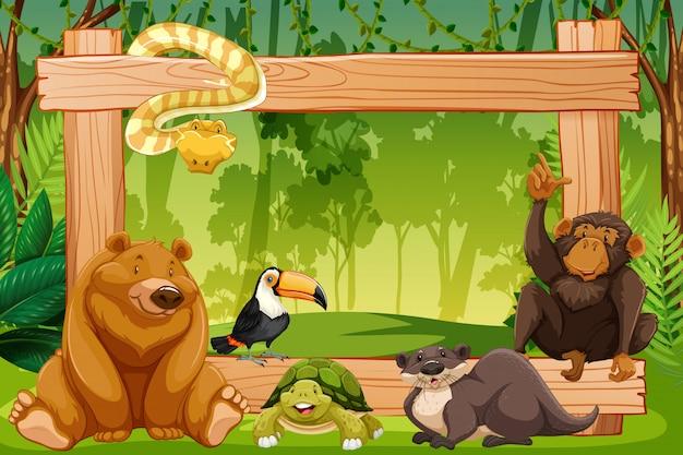 Groot dier op houten frame