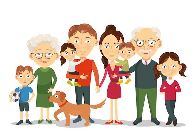 Groot en gelukkig familieportret met kinderen, ouders, grootouders illustratie