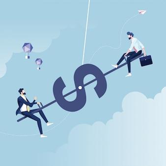 Groot en klein bedrijfsevenwichtzaag van zakenman