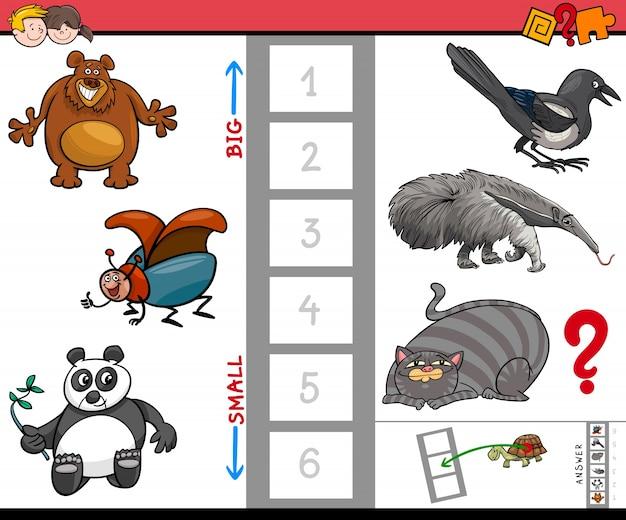 Groot en klein dieren educatief spel voor kinderen