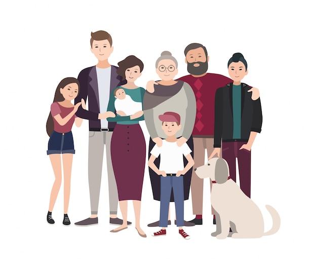 Groot familieportret. gelukkige mensen met familieleden. kleurrijke platte illustratie.