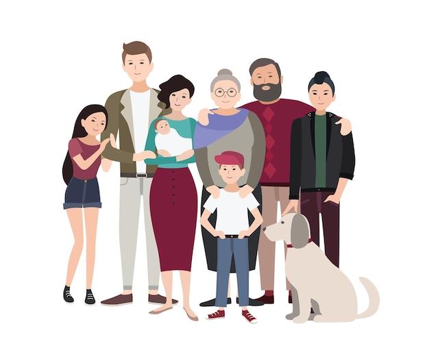 Groot familieportret. gelukkige mensen met familieleden. kleurrijke vlakke afbeelding.