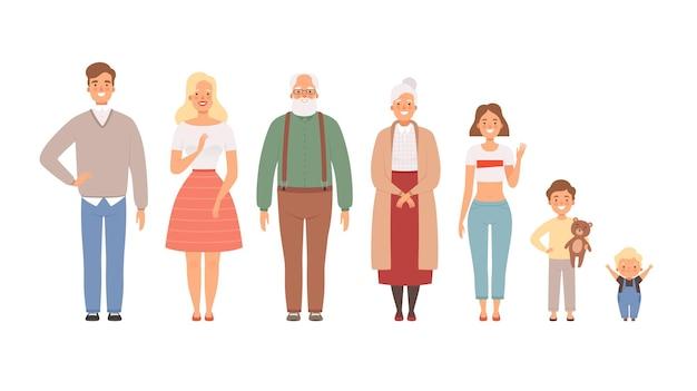 Groot familieportret. vader moeder dochter broer zus jongens meisjes grootouder baby levensstijl karakters.