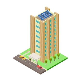 Groot flatgebouw, auto's, taxi en mensen isometrische illustratie
