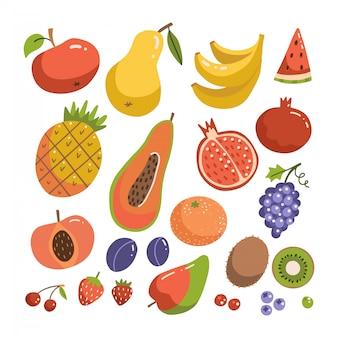 Groot fruitstel. modern plat ontwerp. geïsoleerde objecten. fruit pictogrammen. hand getekende illustratie collectie.