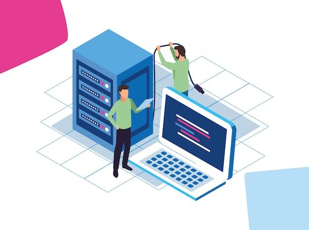 Groot gegevens kleurrijk ontwerp met mannen met laptopcomputer en gegevenscentrumserver