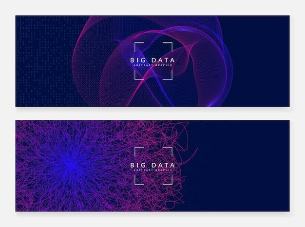 Groot gegevensconcept. digitale technologie abstracte achtergrond. kunstmatige intelligentie en diep leren. tech visual voor cloudsjabloon. partical big data concept achtergrond.