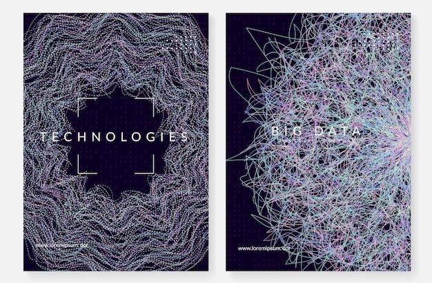 Groot gegevensconcept. digitale technologie abstracte achtergrond. kunstmatige intelligentie en diep leren. tech visual voor informatiesjabloon. partical big data concept achtergrond.