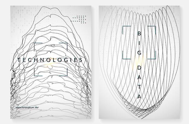 Groot gegevensconcept. digitale technologie abstracte achtergrond. kunstmatige intelligentie en diep leren. tech visual voor interfacesjabloon. geometrische big data concept achtergrond.