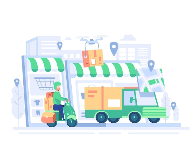 Groot geïsoleerd bestelwagen, platte illustraties van vrachtwagen, motorfiets, drone logistiek commercieel transportconcept.