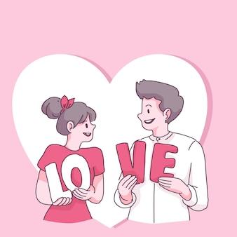 Groot geïsoleerd verliefd koppel, gelukkig jong meisje en jongen verliefd
