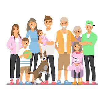 Groot gelukkig familieportret. mensen. vader, moeder, opa, oma, kinderen en huisdier.