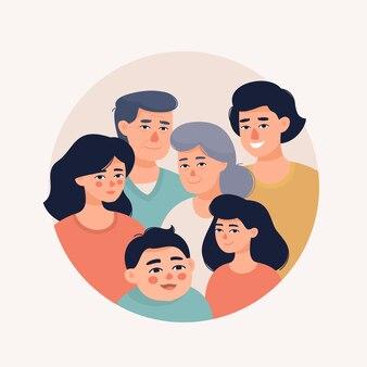 Groot gelukkig familieportret