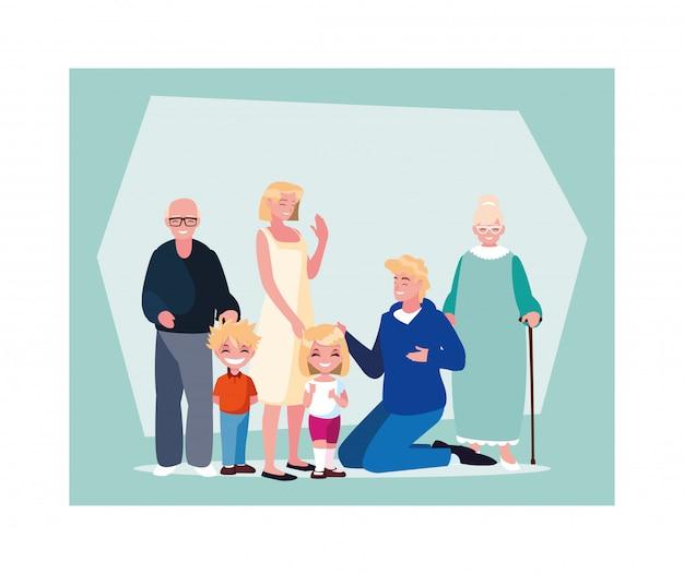 Groot gezin samen, drie generaties grootouders, ouders en kinderen van verschillende leeftijd samen