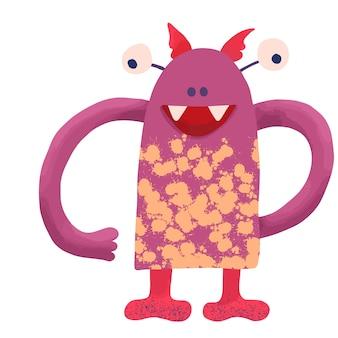 Groot grappig gekarteld monster van roze kleur met grote handen en gele vlekken op het lichaam